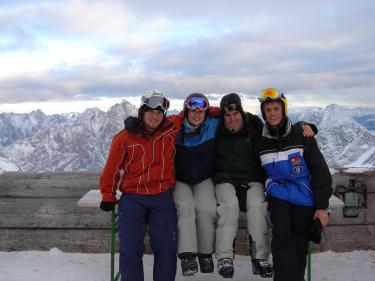 Alex Becker, right, on a ski trip at Garmisch with Lucas Schryver, Kristen Allen (both CU students in Regensburg) and friend Michael Howe, who was an exchange student at Regensburg from Oxford.