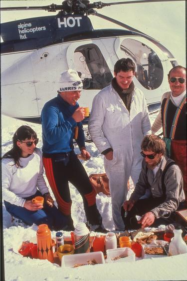 Dale Grant heliskiing in New Zealand