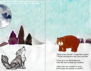 A page from The Lost Wolf and the Sleepy Moon, by CU-Boulder students Will Golding, Chris LeSueur, Hanadi Salamah and Perry Soderstrom.