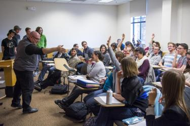 Mark Leiderman, professor and chair of the CU-Boulder Department of Germanic and Slavic Languages & Literatures, calls on a student during class. Born and educated in Russia, Leiderman contends that the 2015 Nobel Prize in Literature, awarded to Belarusian author Svetlana Alexievich, underscores the importance of Russian Studies. He notes that Russian studies are expanding at CU.