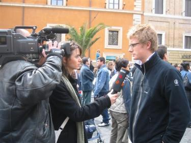 Alex Becker being interviewed by German TV in the Vatican courtyard the day after Pope John Paul II died.