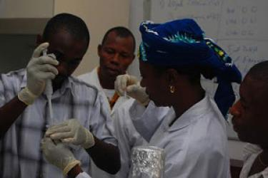 Participants in a modern cell-biology 'boot camp' in Ghana hone their skills in science, technology and  lab work. Photo courtesy of Dick Macintosh.