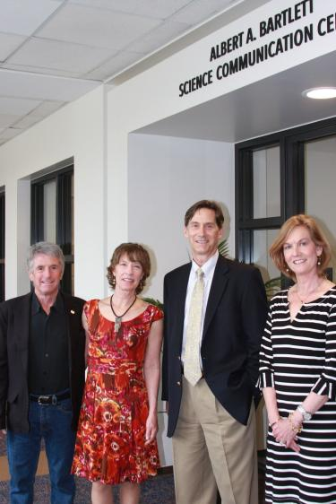 Brian Daniell and his wife, Vicki Bynum (left-side couple), donated more than $500,000 to build the Albert A. Bartlett Science Communication Center at SEEC. Jim White and his wife, Kristen White.