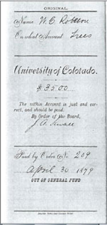 1879 voucher for purchase of cottonwood trees.