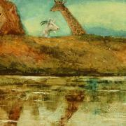 painting of animals at a pond