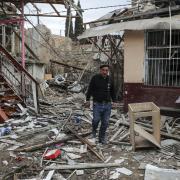Houses, allegedly destroyed by shelling, in Ganja, Nagorno Karabakh. Aziz Karimov/EPA