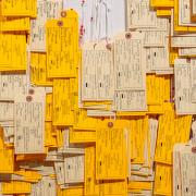 Detail of Toe Tag Wall (Phillips Museum of Art, Franklin & Marshall College)