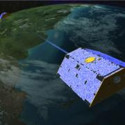 Illustration of the NASA Gravity Recovery and Climate Experiment, or GRACE. Image courtesy of NASA.