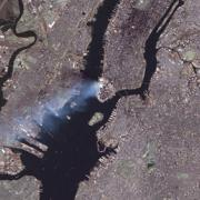 A satellite image of the World Trade Center attacks of Sept. 11, 2001. (Image courtesy: NASA)