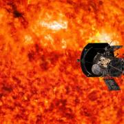 Parker Solar Probe circles in front of the sun in this artist rendering. (Credit: NASA, Johns Hopkins APL, Steve Gribben)