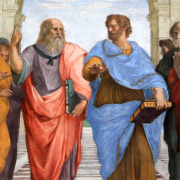 Plato and Aristotle walking and disputing