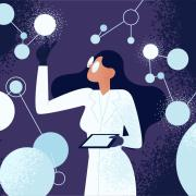 stock illustration of a woman in stem