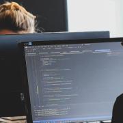 students at computers stock photo