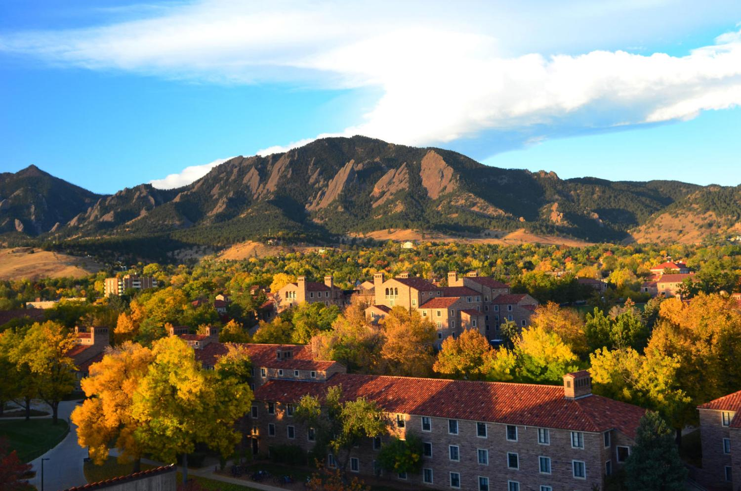 fall colored trees aerial view of the CU boulder campus