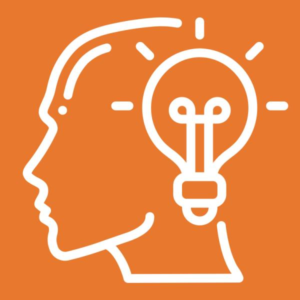 Metacognition and wellness logo featuring a human head with a lightbulb