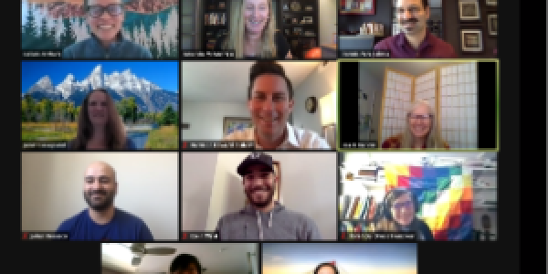 Participants in the Active Learning Academy meet virtually via Zoom