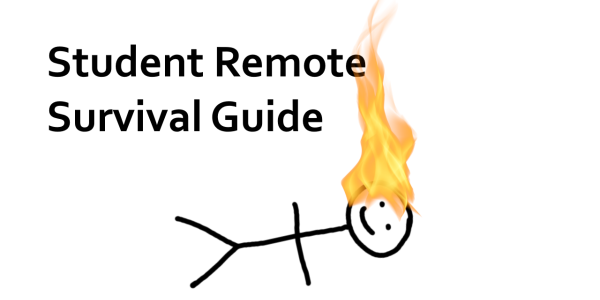 Stick figure lying on the ground with its hair on fire