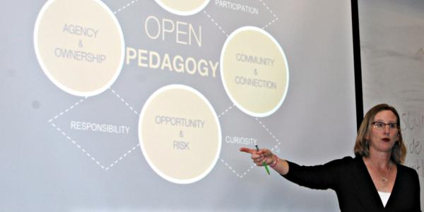 Amanda McAndrew presents a model that positions open pedagogy at the intersection of access and equity; agency and ownership; community and connection; and opportunity and risk.