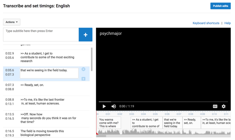 Screenshot of YouTube video caption feature