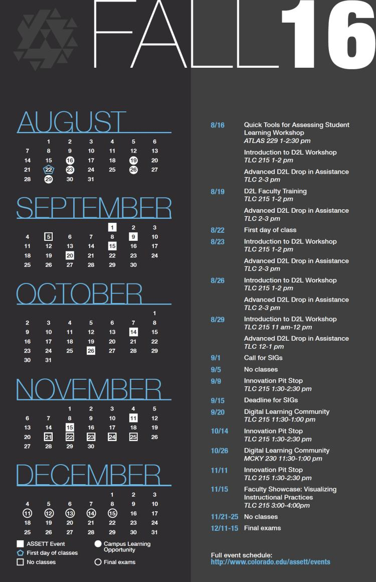 ASSETT Fall Calendar, with the days of ASSETT events highlighted. See body text for event information.
