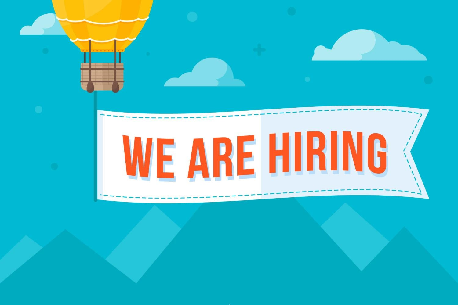 We Are Hiring sign attached to hot-air balloon