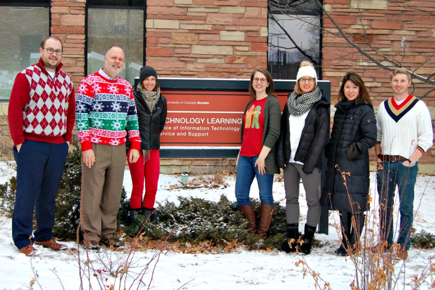 ASSETT staff in front of the Technology Learning Center