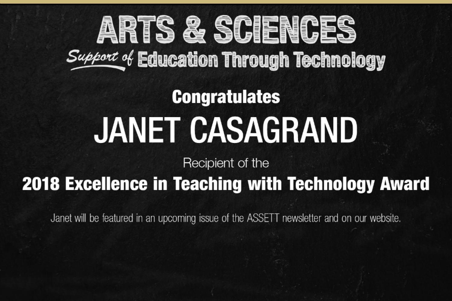 Announcing Janet Casagrand as recipient of the 2018 Excellence in Teaching with Technology Award
