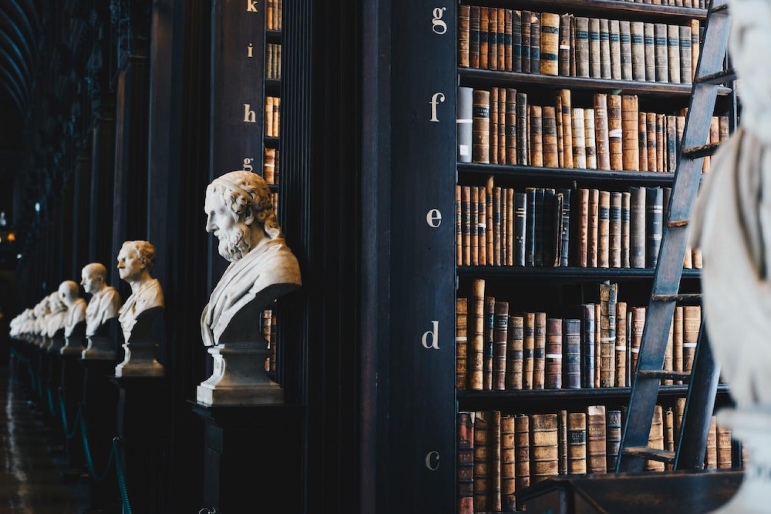 ceramic busts in library