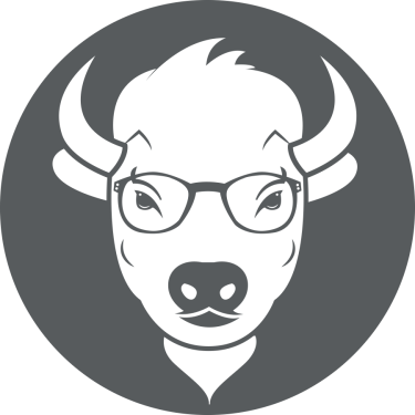 BuffsCreate logo featuring a buffalo wearing cute glasses