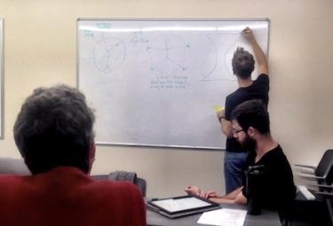 team brainstorms ideas on whiteboard