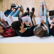 Top-down image of students coworking