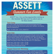 ASSETT Summer 2016 Events poster. Textual details within PDF.