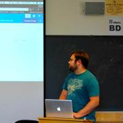 Jacob gives a presentation about Wordpress to class
