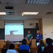 Dr. Lester and Jake presenting WordPress to the class