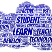 Word cloud of keywords from project proposals. Terms that emerge as particularly important include learn, student, teach, technology, course, develop, data, science, active, digital, metacognition, and create.