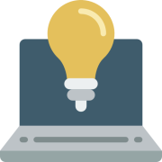 A laptop displaying a lightbulb to represent an idea