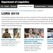 Screenshot of the LURA 2019 blog