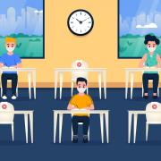 Cartoon of students in a physically distanced classroom setting