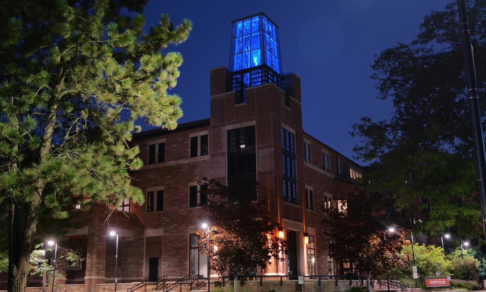 roser atlas building blue light