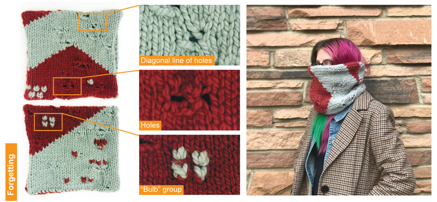 A knitted scarf with holes in it.