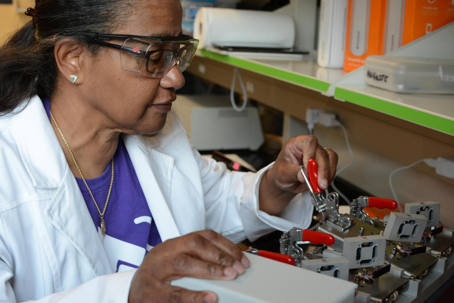 Auguste uses a Markes Micro-chamber to extract volatile organic compounds from a sample.