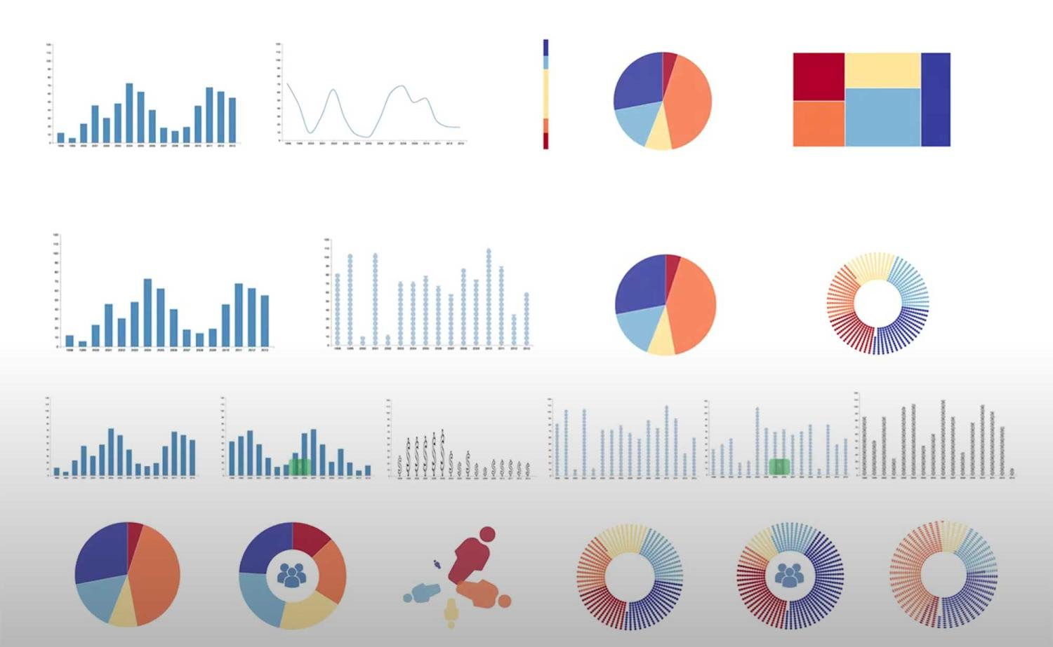 illustration of various kinds of charts and graphs