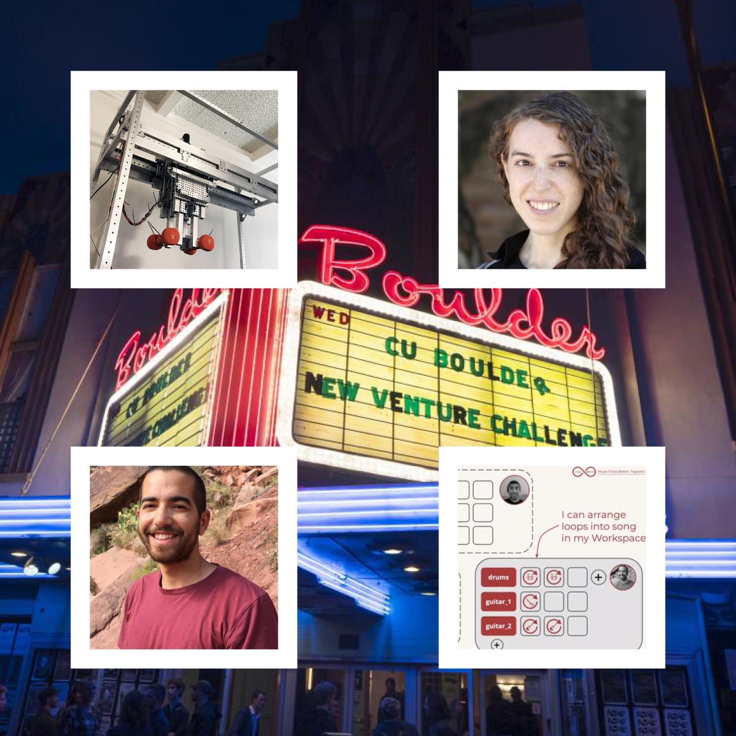Marquee of Boulder Theater announcing the NVC finals with photos of Darren Scholes, Kailey Shara and their projects around it