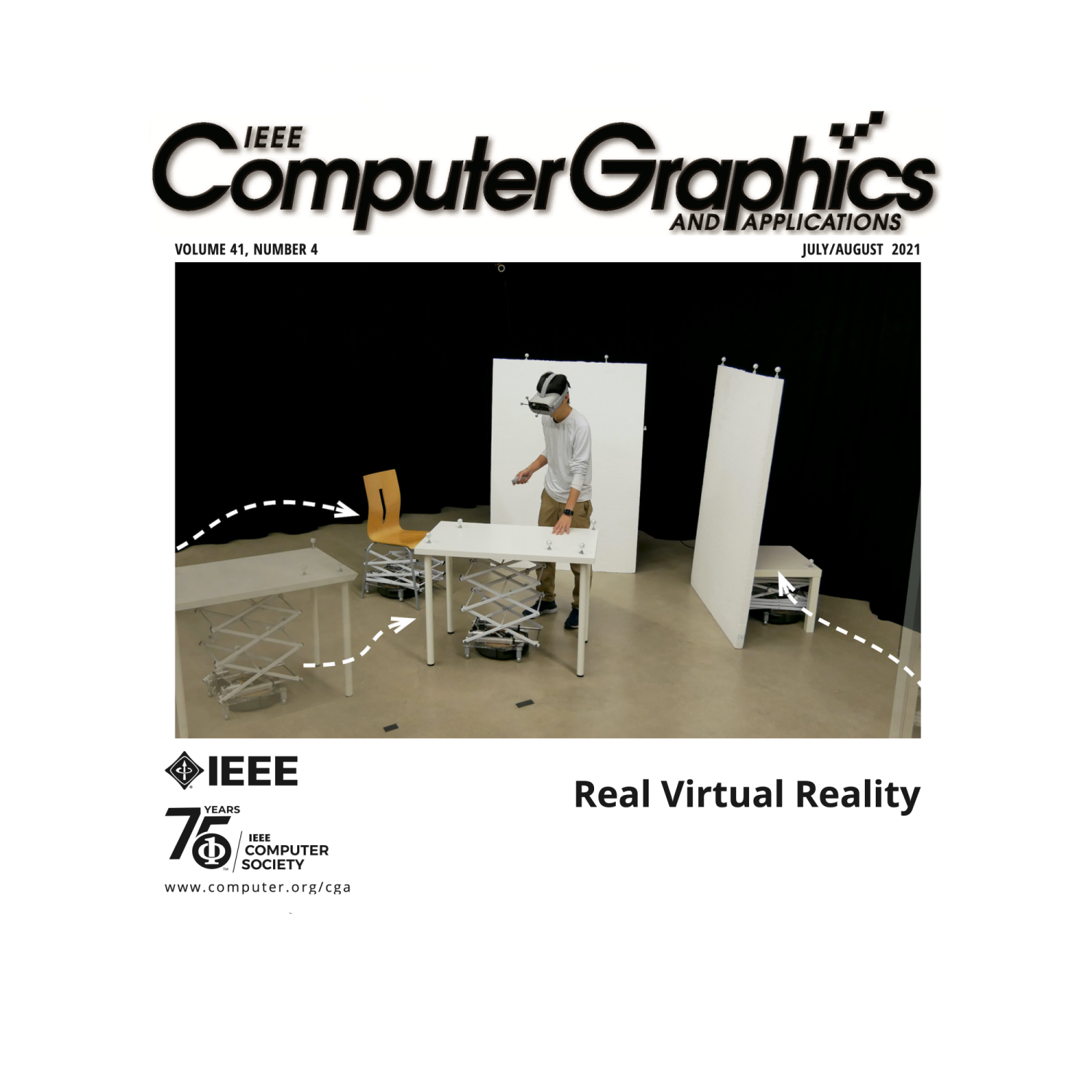 Cover of IEEE magazine showing Ryo Suzuki with a VR headset on touching a table that has the ability to move.