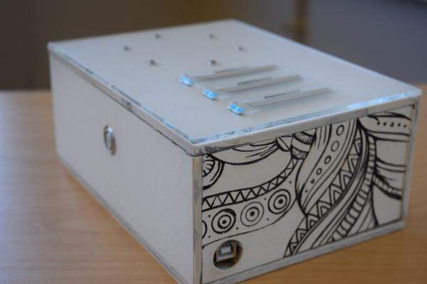 Photo of decorated box housing electronics
