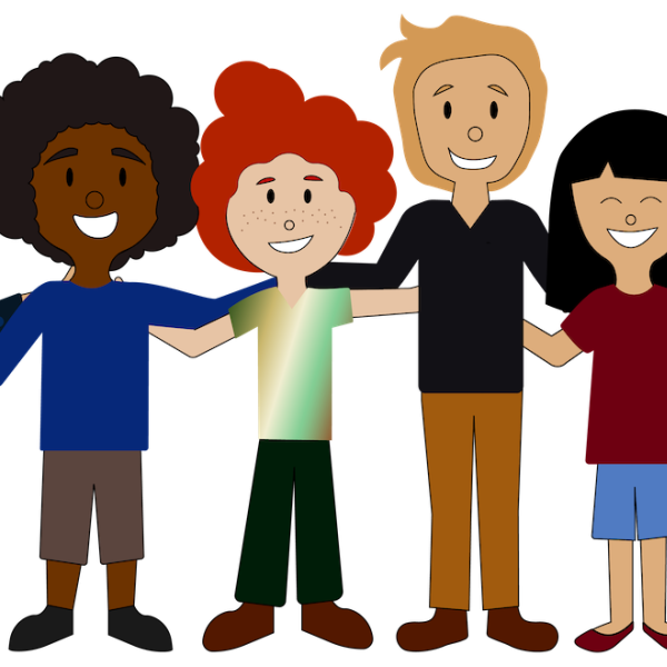 Animation of people of different colors and sexes with arms around each other.