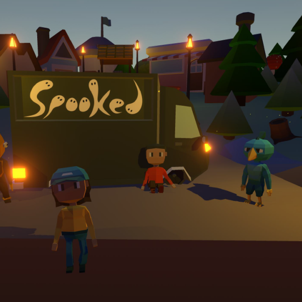 """Animated characters in a dark neighborhood with the word """"Spooked"""" lit up"""