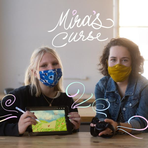 Lillie Bahrami and Emily Gould sit next to each other with masks on holding a sketch pad from Mira's Curse