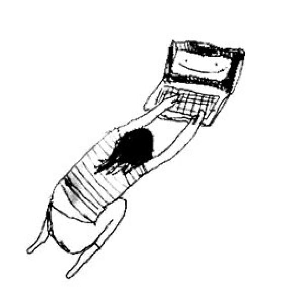 Drawing by Jen Liu of a woman laying down near a computer, with her arms outstretched and typing on it