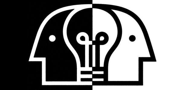 illustration of black and white heads converging with a lightbulb